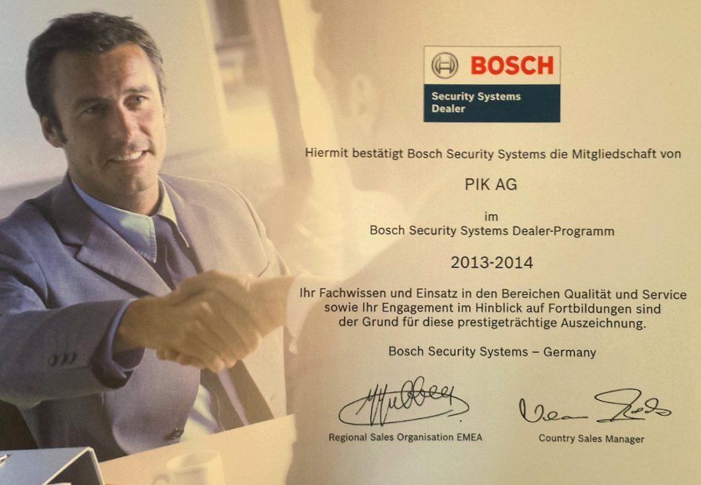 Bestätigung des BOSH Security System Dealer Programm