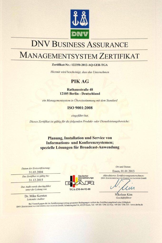 DNV Zertifikat der PIK AG