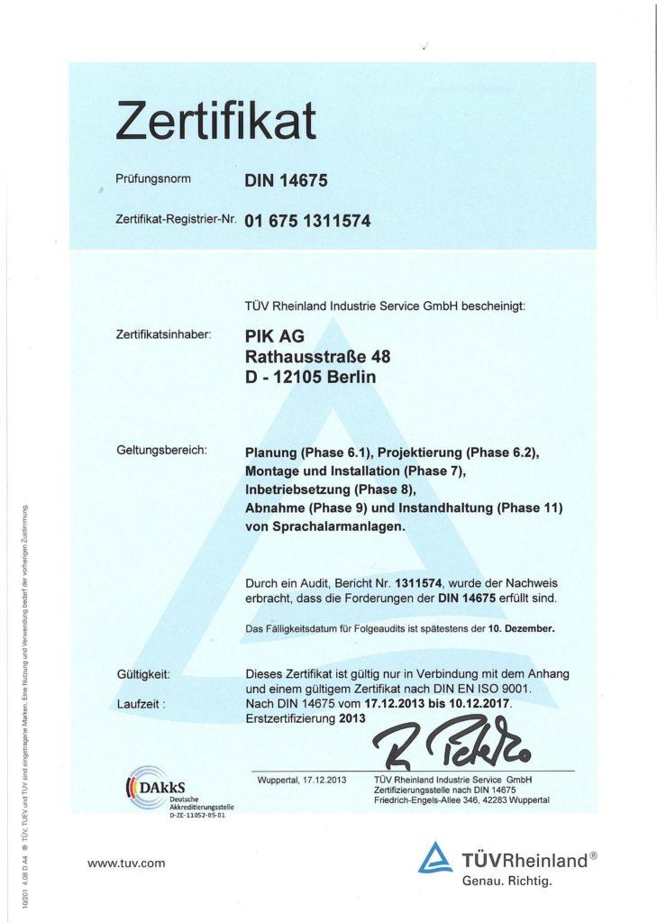 DIN 14675 Zertifikat der PIK AG