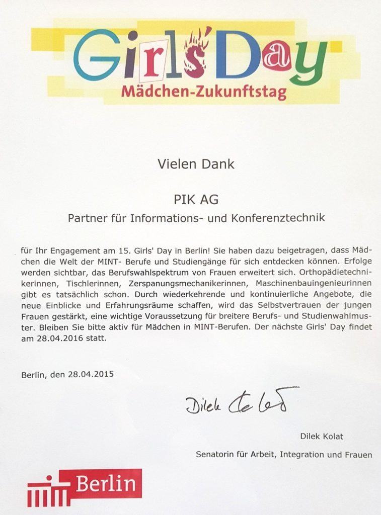 Urkunde des 15. Girls Day für die PIK AG