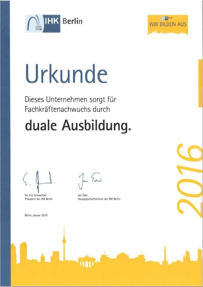 IHK Urkunde zur Dualen Ausbildung 2016