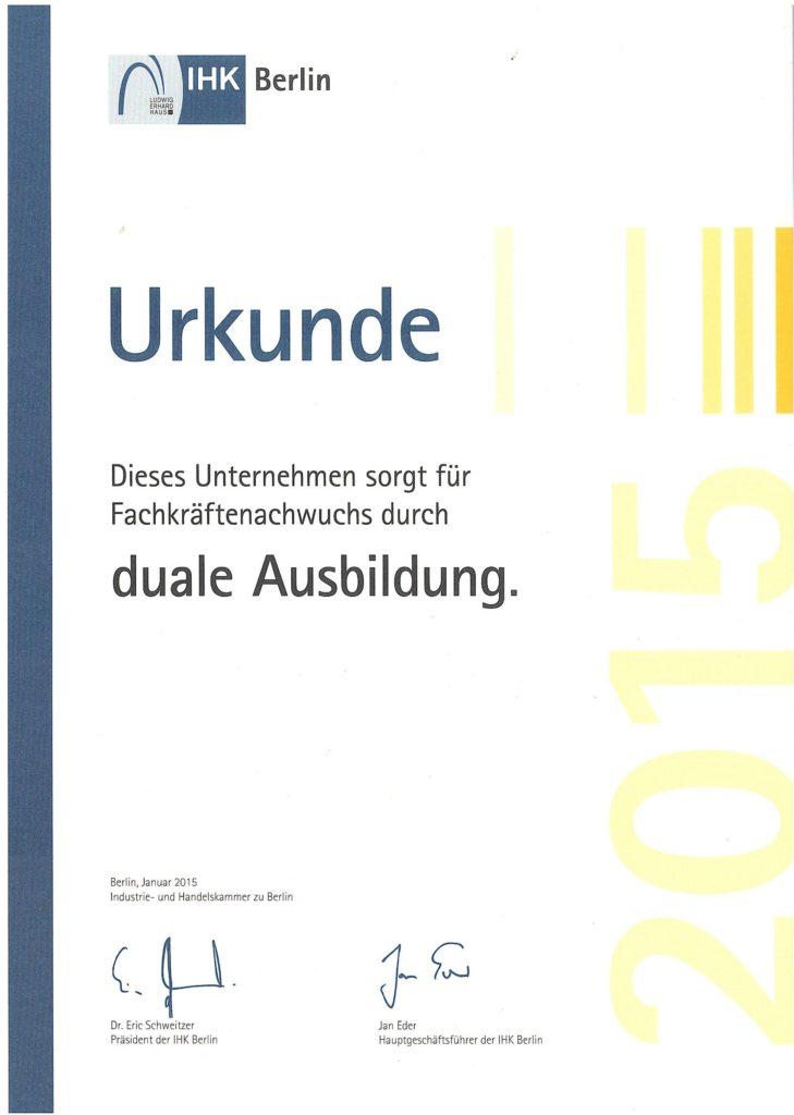 IHK Urkunde zur Dualen Ausbildung