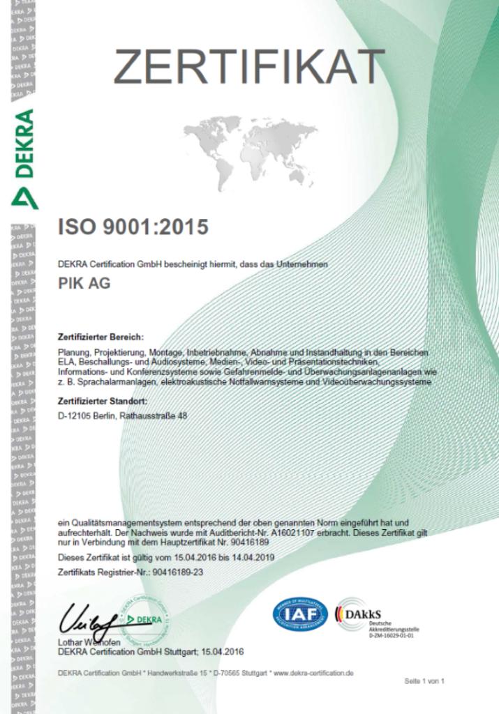 DEKRA ISO 9001:2015 Zertifikat