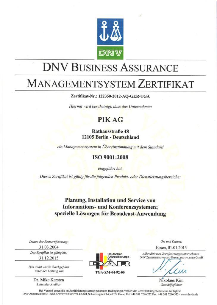 DNV Business Assurance Managementsystem Zertifikat