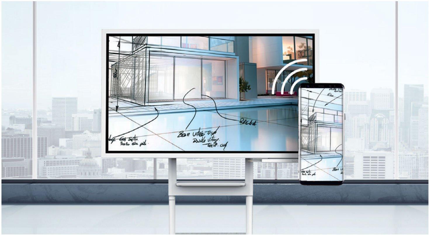 Samsung Flip und Handy im Raum welches die Verbindung anzeigen