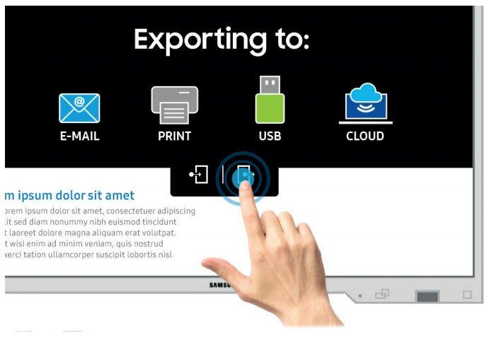 Finger berührt und steuert Samsung Flip