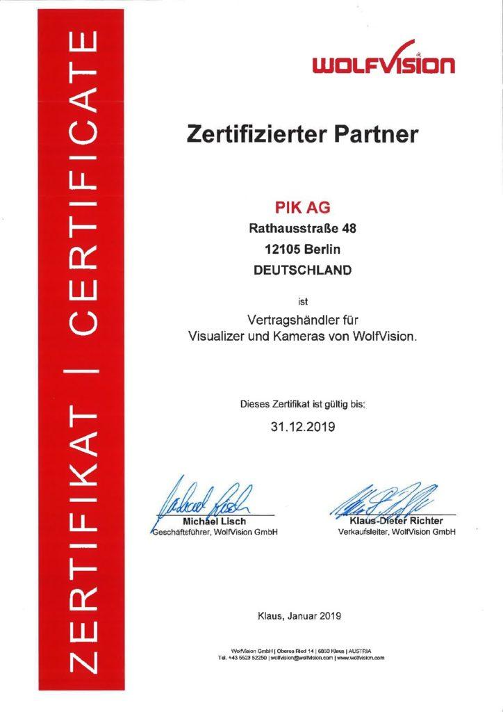 Din A4 Zertifikat von Wolfvision