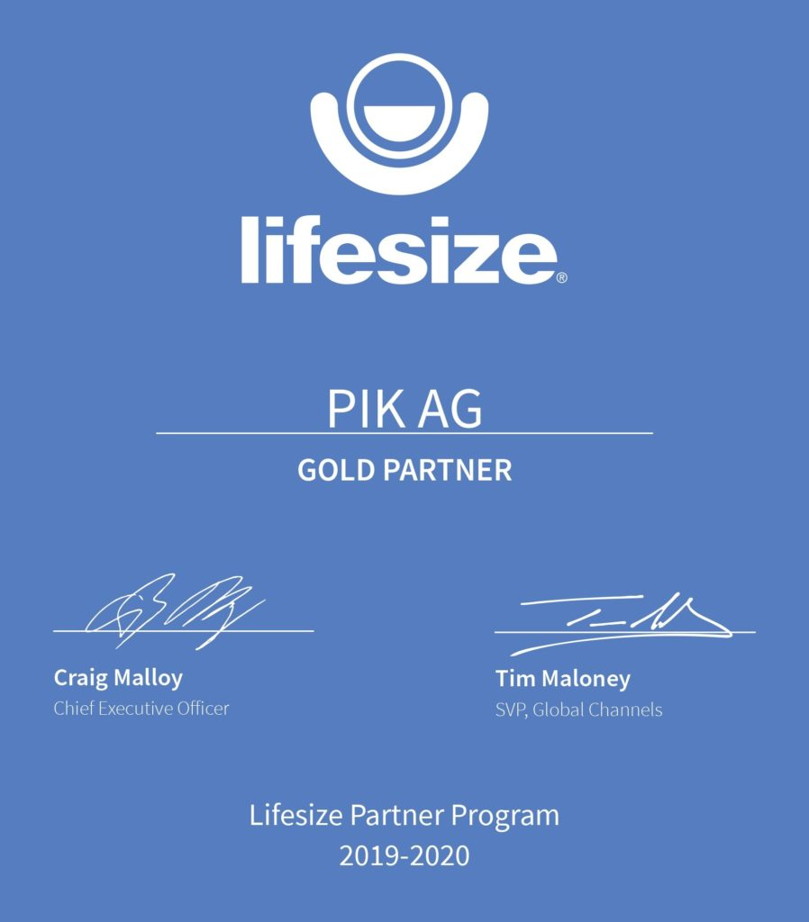 blaues LifeSize Zertifikat